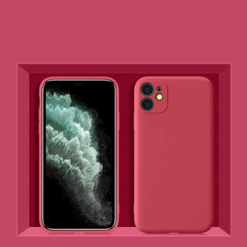 Silicone original caso do telefone para o iphone 11 xs xr x 8 7 6 se 2020 capa completa câmera lente proteção caso com tem logotipo