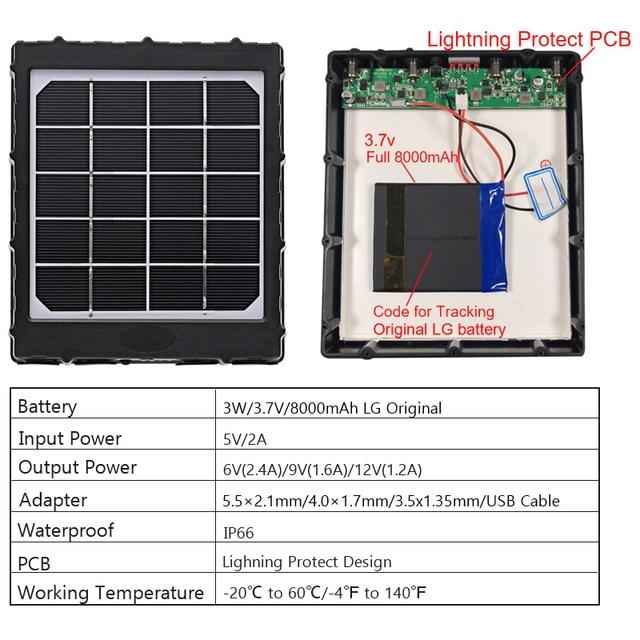 WG8000 Hunting Trail Cameras Solar Panel Charger 6v/9v/12v 8000mAh for feeder kit forest Game Cameras 1.7mm/DC2.1mm/USB adapter 4