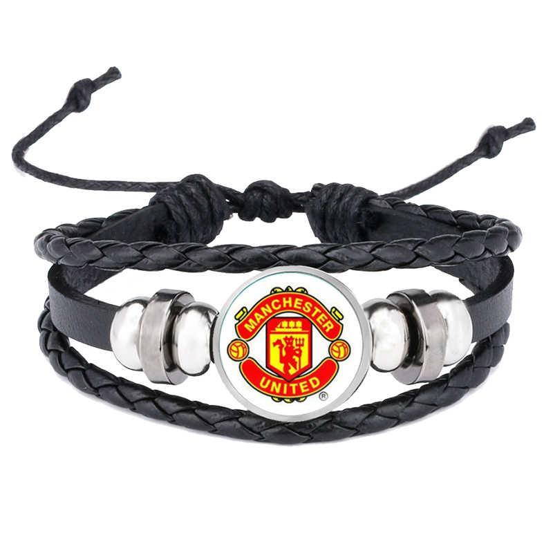 Bracelets en cuir chauds de livraison directe Logo de Club de Football Bracelet en verre bijoux équipe Logo Bracelet pour les cadeaux de Fan de Football