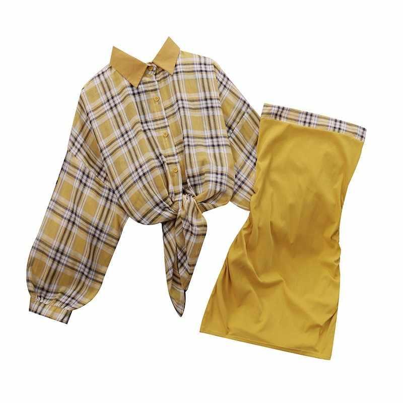 2019 ฤดูร้อนใหม่คอยาวแขนยาวลายสก๊อตครีมกันแดดเสื้อด้านบนหลอดจีบชุด