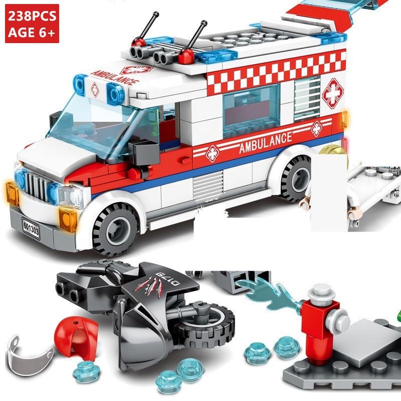 238Pcs City Street View Ambulances Truck Car Model Playmobil Building Blocks Sets Bricks Educational Toys For Children