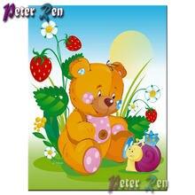 5d мультфильм Медведь клубника Улитка алмазная живопись своими