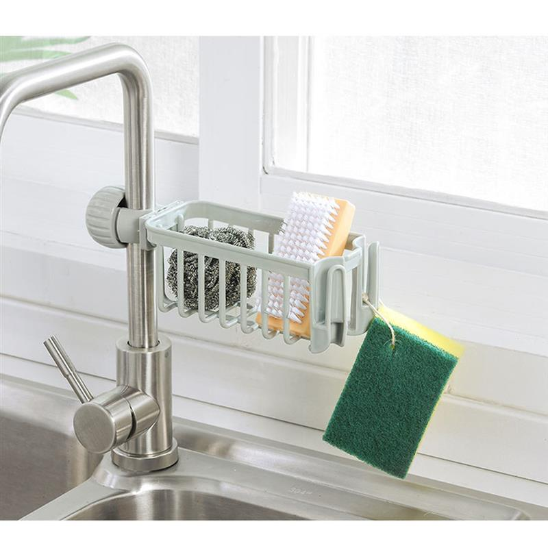 Kitchen Sink Faucet Sink Storage Rack Sponge Holder Dish Drain Soap Brush Organizer Kitchen Towel Kitchen Cloth Finishing Rack
