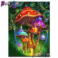 5d алмазная картина пейзаж вышивка цветной гриб дом сделай сам