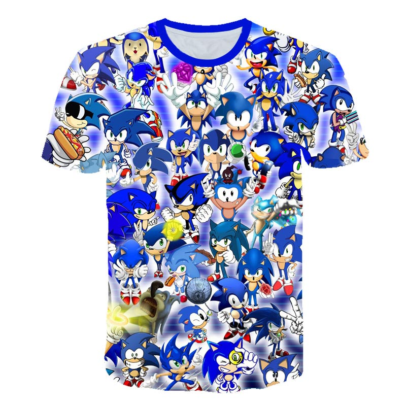 Children Clothes Summer Short Tee Anime Sonic 3D Cartoon Printed T Shirt For Boys Girls Popular Kids Boy Tshirt 3 4 5 6 7 8 9