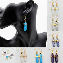 2019 Women Boho Earrings Fashion Dangle Drop Earrings Retro Natural Stone Bead Hexagon Geometric Gem Long Earrings Jewelry Gifts(China)