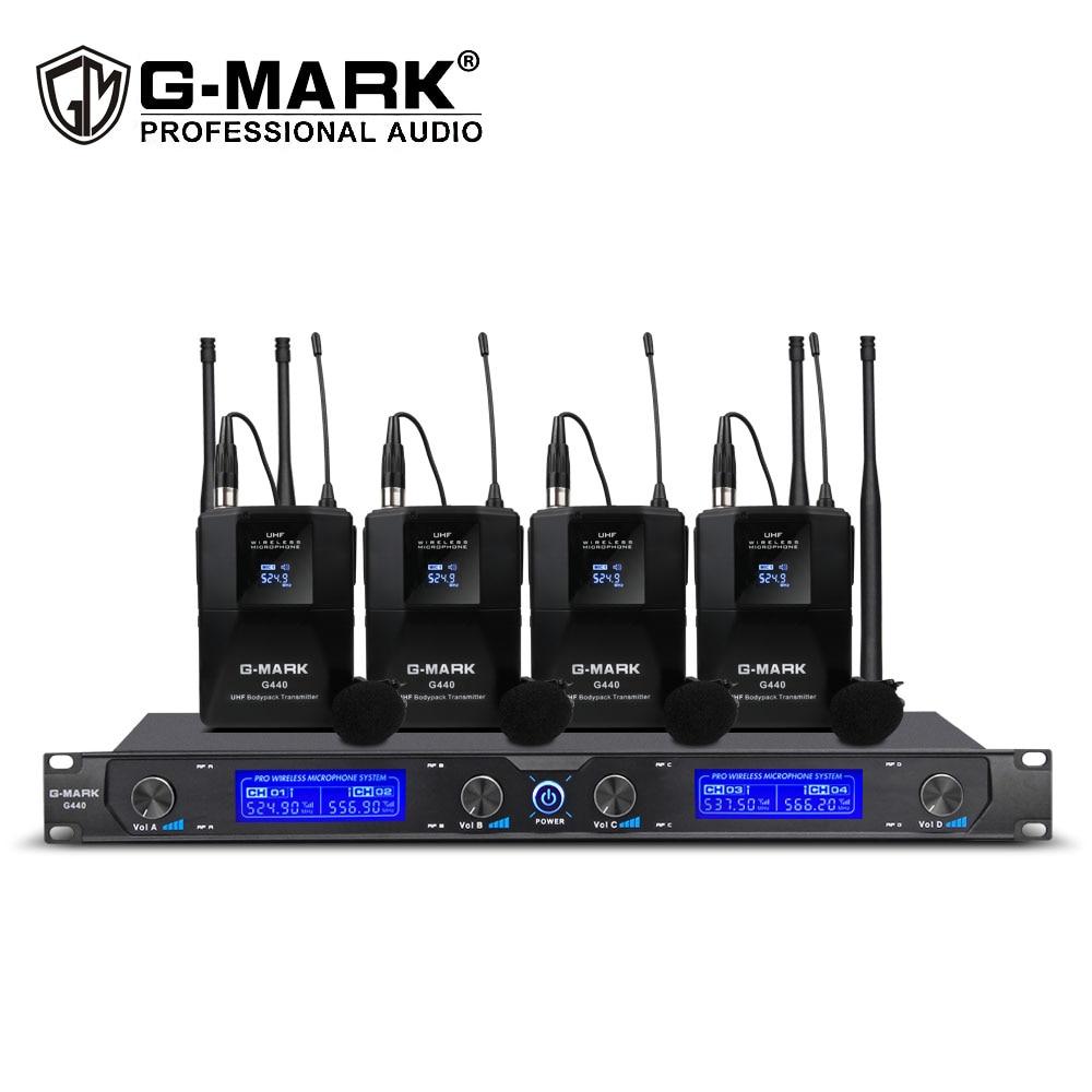 G MARK G440 ميكروفون لاسلكي الارسال 4 قناة UHF lavalier Mic للاجتماع حفل زفاف المرحلة 50 مترالميكروفونات   -