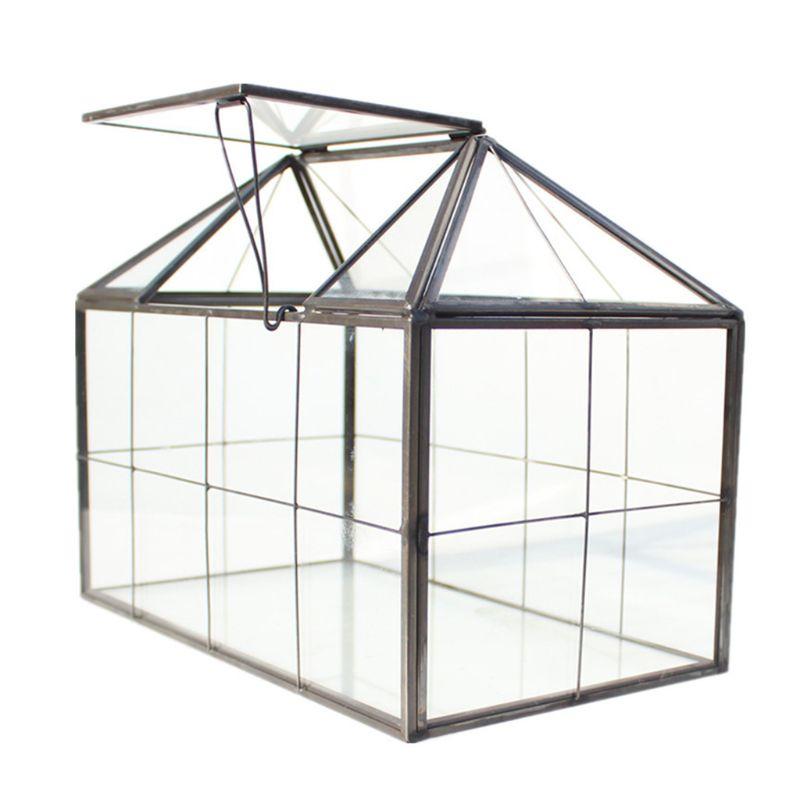 Glass Terrarium Jewelry Box Clear Glass Box Geometrical Box ,House Shape Close Glass Geometric Terrarium Tabletop Succulent Plan