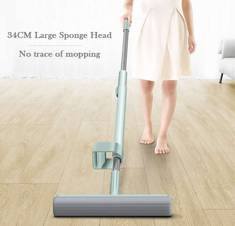 Image 5 - Hand Free Can Stand Mop for Wash Floor 180 Magic Squeeze Flat Mop 34cm Large Sponge Lazy Mop Household Cleaning Home Wooden TileMops   -