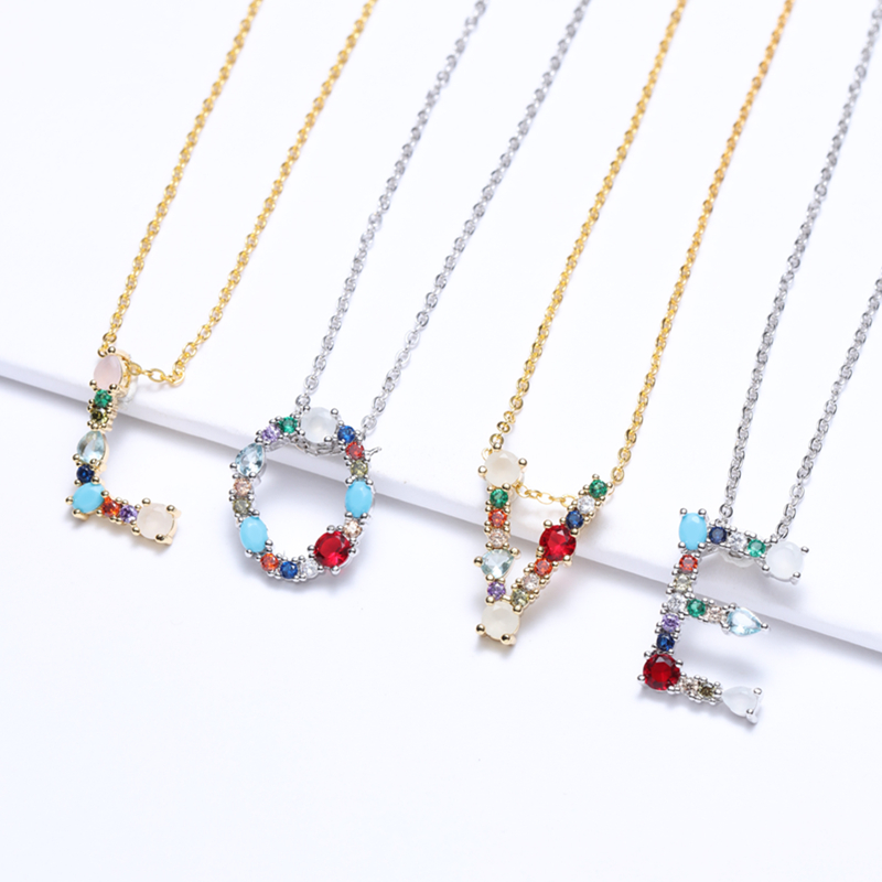 Multicolor charm Gold pendant necklace micro pave zircon initial 26 letter necklaces Couple Name necklace Christmas