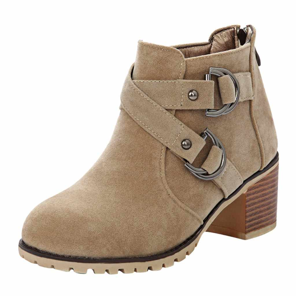 """Khóa Dây Giày Nữ Chiến Đấu Giữa Bắp Chân Giày Boot Đính Thấp Khối Thu Đông Giày Người Phụ Nữ Botas Mujer """"Invierno 2019"""