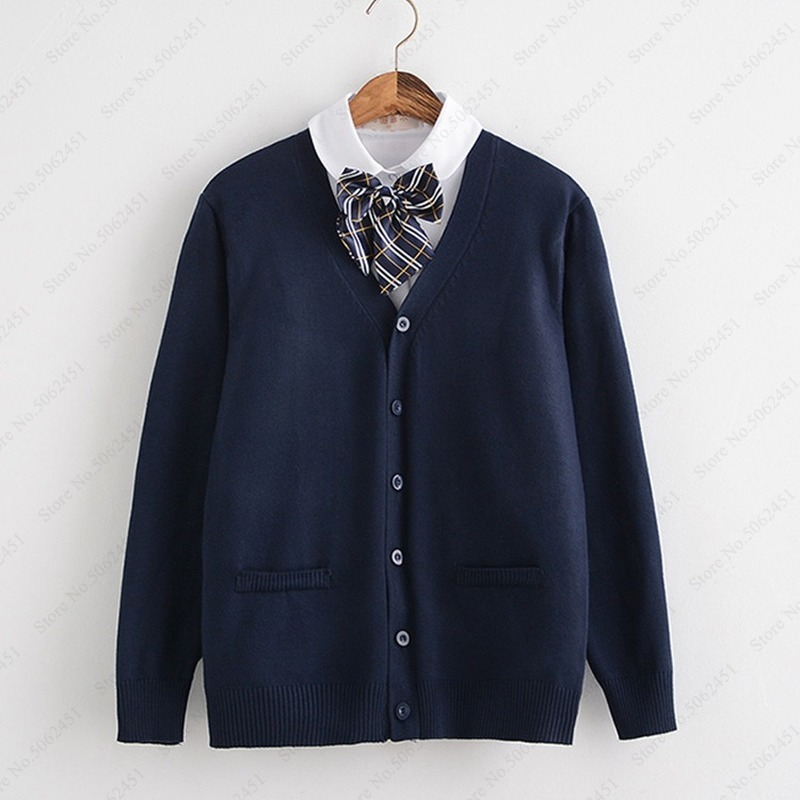 Japanese Cardigan Sweater College Students High School Uniform Korean Girls Long Sleeve Sailor Jackets CoatS JK Cosplay Costumes