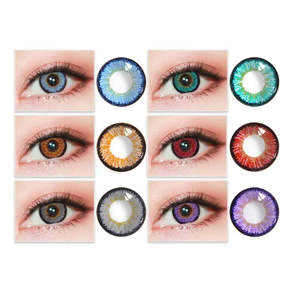 2Pcs Big Eye Beauty Pure Colored  Eyes Lens Cosmetic Eyewear For Party Makeup Beauty Tools