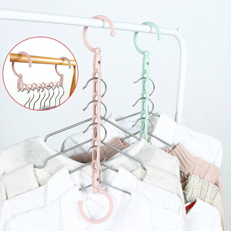 Windproof 5Hole Magic Coat Clothes Hanger Multifunction Holder Clothes Hanging Organizer Folding Rotating Coat Storage Rack