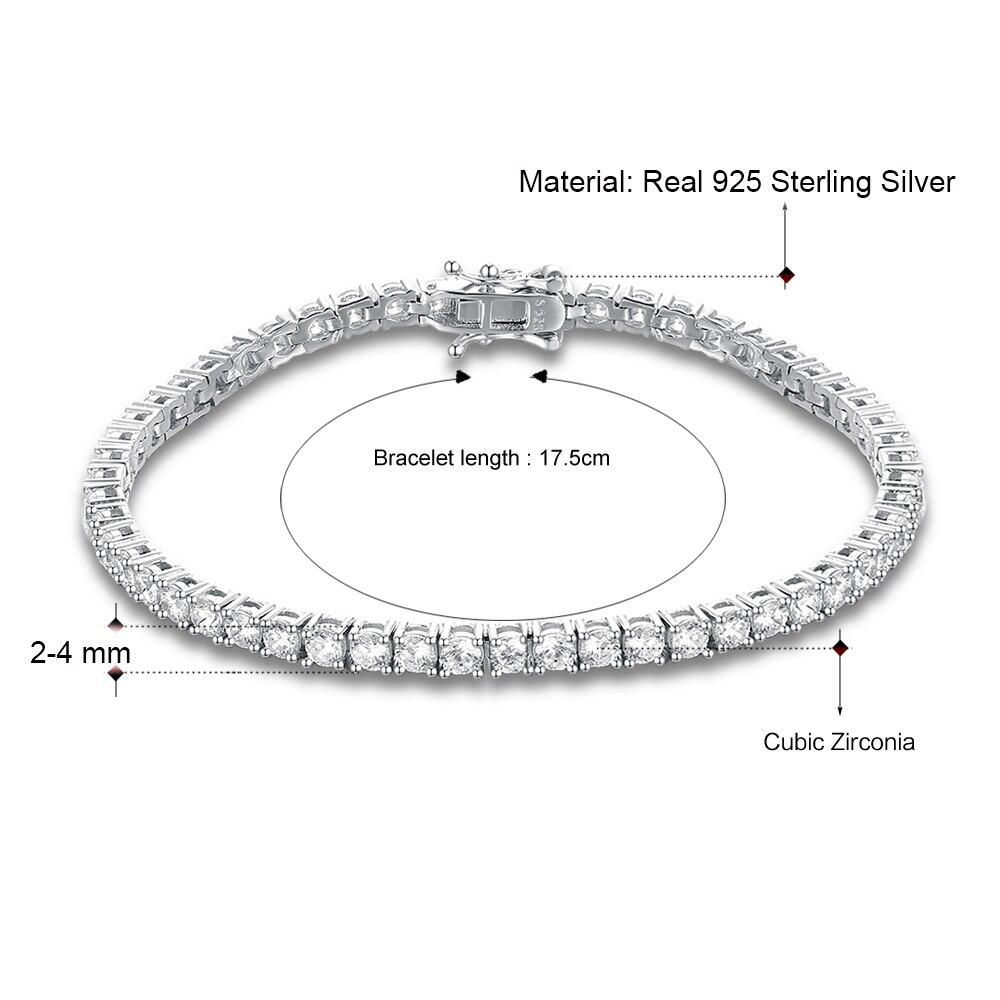 Classic 17.5 cm tennis bracelets Real 925 silver jewelry 2mm 3mm 4mm 5A Zironia Eternal wedding luxury sterling silver Bracelet 4