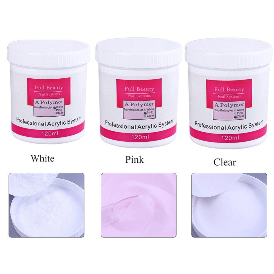 Acrílico em pó para unhas 3d arte dicas builder cristal polímero rosa branco claro extensão escultura arte do prego decorações