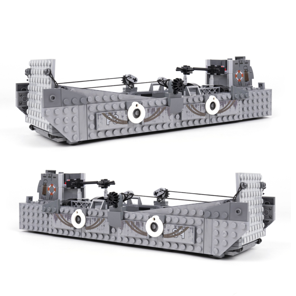 413PCS LCM3 Landing Ship Trailer Model Building Blocks With Military Truck WW2  Soldier Figures Bricks Toys For Children Gifts