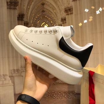 2021 Spring  New High Quality POWEE White Women Fashion Thick-Soled Trendy Shoes Leather Couple Casual Shoes