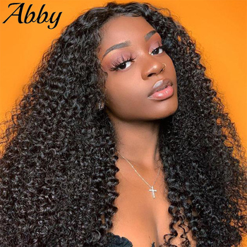 Curly Human Hair Wig 13X4 Lace Front Human Hair Wigs 13x6 Kinky Curly Peruvian 180% Density Full Abby Hair Wigs For Women