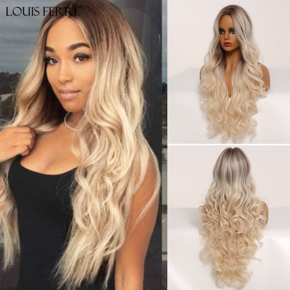 LOUIS FERRE Middle Part Ombre Brown Light Blonde Synthetic Wigs Long Water Wave Cosplay Wig For Black Women High Temperature