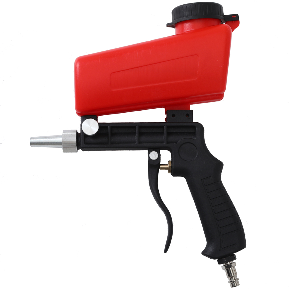90psi Portable Gravity Sandblasting Gun Pneumatic Small Sand Blasting Spray Gun Adjustable Pneumatic Sandblasting Set Power Tool