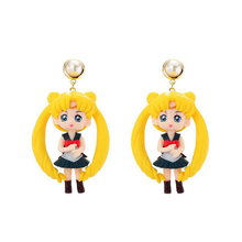 Cute Anime Doll Drop Earrings Girls Women Big Resin Pink Yellow 3D Fairy Dangle Cartoon Toy Fashion Jewelry New