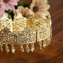 Sunspicems Gold Silver Color Crystal Tassels Headband Flower Choker For Women Algeria Crown Ethnic Wedding Jewelry 2021