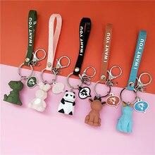 2019 New Creative cute cartoon keychain Metal jewelry Animal Panda Keychain Girls bag ornaments accessories gift