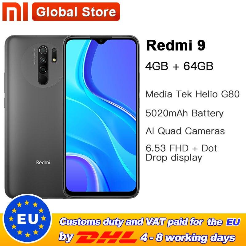 "Global Version Redmi 9 4GB 64GB Smartphone Octa-core Media Tek Helio G80 13MP Rear camera 5020mAh Redmi9 Type-c 6.53""(China)"