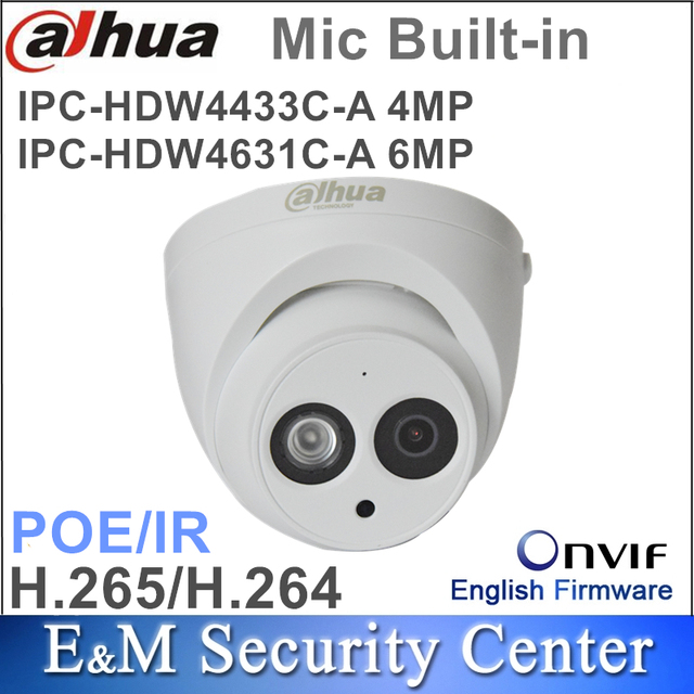 Original dahua 4MP IPC HDW4433C A and 6Mp IPC HDW4631C A CCTV Network IP Camera IR POE CCTV Mic Built in dome