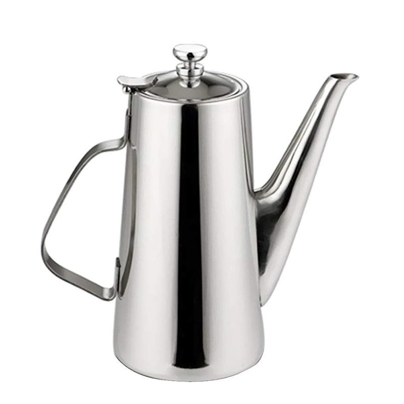 Pitcher Stainless Steel Water Carafe with Lid for Coffee Milk Beverage   Long Spout  2L|Coffee Pots| |  - title=