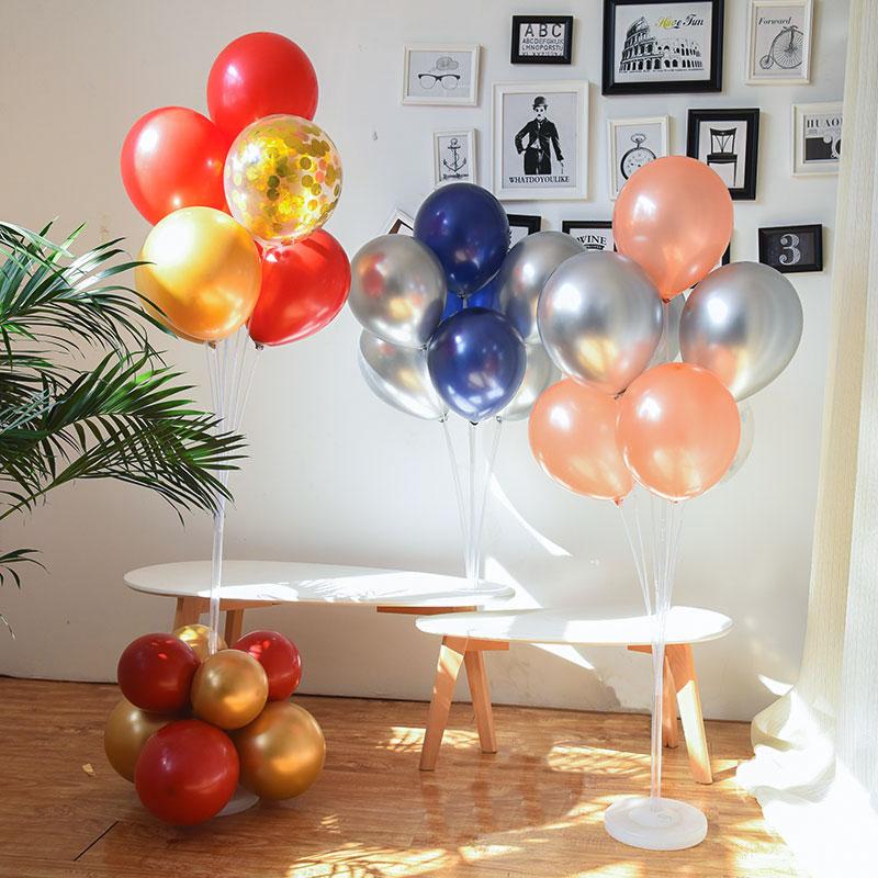 7/11/13/19 Tubes Balloon Stand Holder Column Confetti Balloons Happy Birthday Ballon Kids Baby Shower Wedding Party Decoration