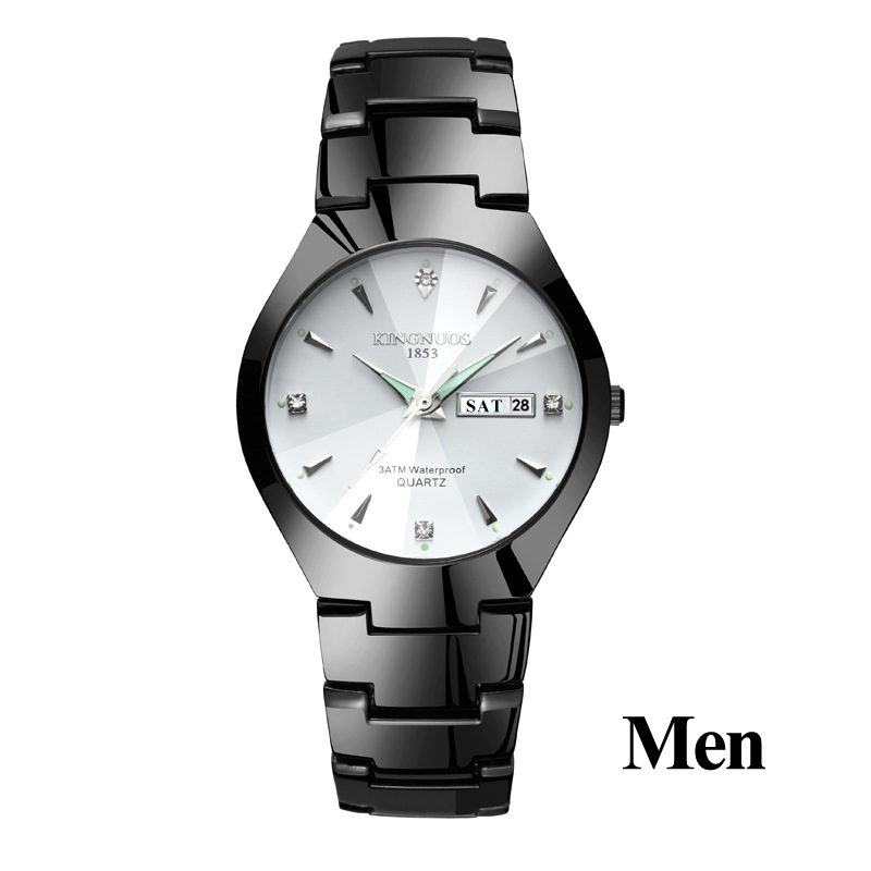 Часы для влюбленных Роскошные Кварцевые наручные часы для мужчин и женщин Hodinky Dual Calender Week steel Saat Reloj Mujer Hombre парные часы - Цвет: Men Black White