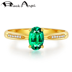 Silver 925 Luxury Emerald Gemstone Ring For Women Bride 24K Gold Adjustable Ring Wedding Party Gift Jewelry Wholesale