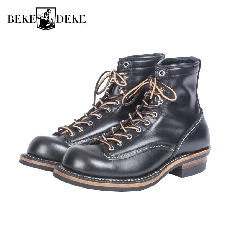 Top Brand High Quality Vintage Cowhide Mens Ankle Boots Casual Lace Up Round Toe Genuine Leather Unisex Cargo Shoes Plus Size