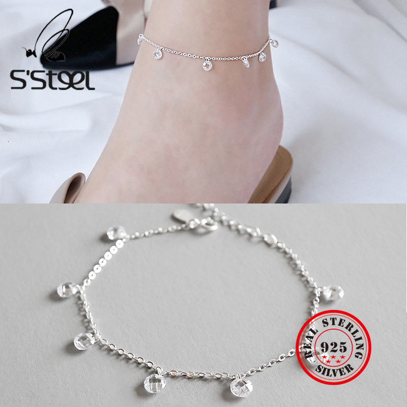 S'STEEL 925 Sterling Silver Anklets Ankle Bracelets For Women Minimalist Cross Chain Round Zircon Collares Mujer Fine Jewelry