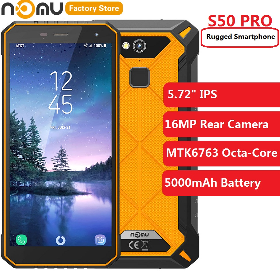 Original IP68 NOMU S50 PRO 4G Phablet 5.72'' Android 8.1 MTK6763 Octa-core 1.5GHz 4GB RAM 64GB ROM 16.0MP 5000mAh Mobile Phones