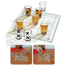 Juego bastante extraño novedades de vidrio de tiro Tic Tac Toe juego de beber de mesa de fiesta de juegos para adultos amigo menores con divertido