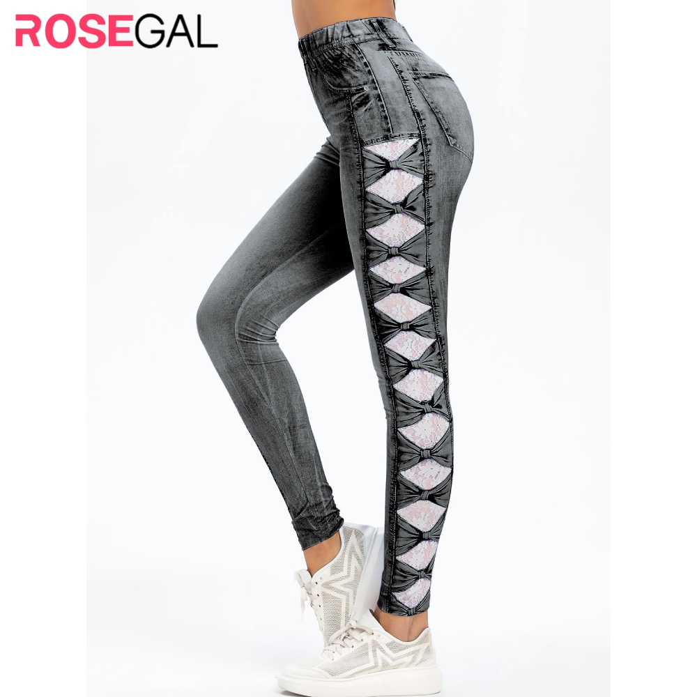 ROSEGAL High Rise 3D Lace Bowknot Print Faded Jegging Jean Print Fitted Leggings Women Fall Stretch Daily Skinny Basic Leggings
