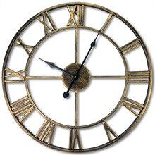 Американский стиль Европейский стиль ретро электронные часы металлические железные художественные римские настенные часы гостиная декоративные настенные покрытия Часы