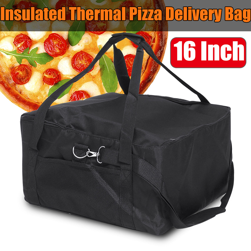 16 Inch Durable Thermal Insulated Storage Portable Fresh Food Red Pizza Delivery Bag Easy Use Box Container Holder Oxford Cloth