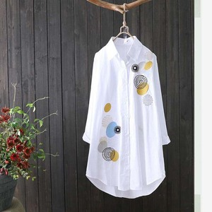 New Women White Shirt 100% cotton Casual Wear Button Up Turn Down Collar Long Sleeve Blouse Embroidery Feminina HOT Sale F106