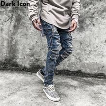 Dark Icon Vintage Blue Hip Hop Jeans Men Slim Fit Ripped Denim Pants Street Fashion Men's Streetwear