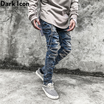 Dark Icon Vintage Blue Hip Hop Jeans Men Slim Fit Ripped Denim Pants Street Fashion Mens Streetwear