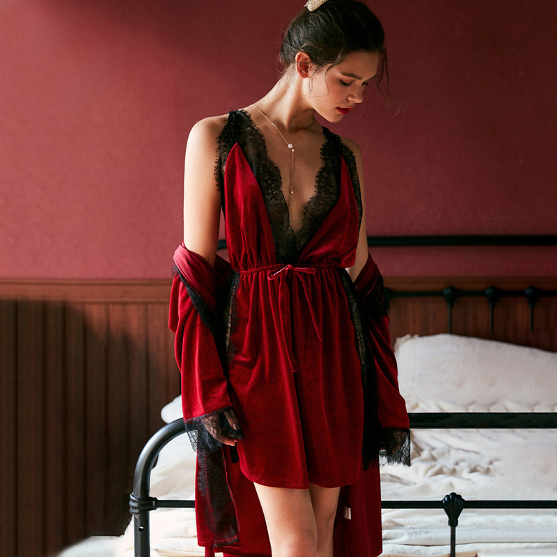 JULY'S SONG Fashion Women Winter Pajamas Set Velvet Robe Gown Set  Autumn Sexy Lace Sling Women Sleepwear Pajamas  Nightdress