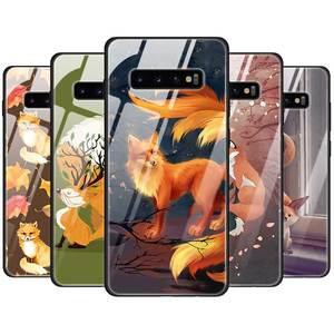 Leuke Fox In Herfst Gehard Glas Case Cover Voor Samsung Galaxy S10 S10e S9 S8 Note9 Note 10 Plus 5G A50 A30 TPU Edge Back Shell