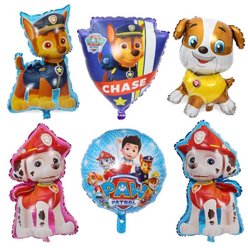 Nova pata patrulha decoração de aniversário figura brinquedos filhote de cachorro patrulha balão brinquedos decoração da sala de festa chase marshall ballon crianças meninas brinquedo