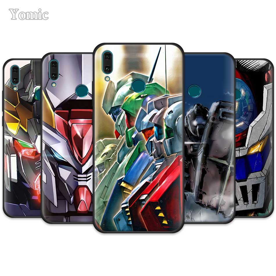 <font><b>Mobile</b></font> Suit Gundam Anime <font><b>Case</b></font> for <font><b>Huawei</b></font> Y9 Prime Y7 Y6 Y5 2019 <font><b>Nova</b></font> 5 <font><b>5T</b></font> 5i Pro Black Cover P20 P30 Lite <font><b>Silicone</b></font> Phone Coquev image