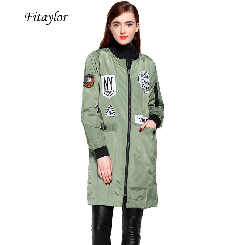 Fitaylor New Autumn Women Emboridery Trench Coats Cartoon Print Slim Windbreaker Baseball Casual Hooded Green Military Outwear