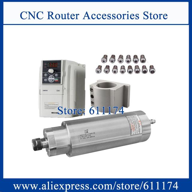 Low speed  milling spindle motor 1200 9000rpm 3Kw AC220V Water cooled + 3Kw VFD Inverter + 85w water pump + 105mm clamp